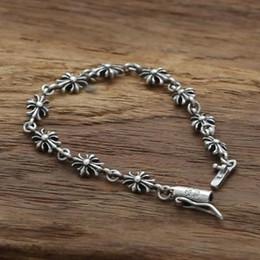 Personifizieren silberne armbänder online-Personalisierte 925 Sterling Silber Schmuck Vintage American European Antik Silber handgemachte Designer Kreuze Charm Armbänder für Frauen