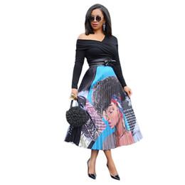 jupe plissée Promotion 2019 nouvelles femmes vintage dessin animé imprimer sexy taille haute mi-mollet jupes plissées vêtements de sport jupe casual 4 couleurs