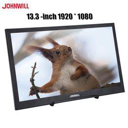 n box tv Sconti Schermo LCD da 13,3 pollici IPS portatile Monitor IPS Full HD Schermo 1920x1080 Gaming Monitor PC Altoparlante ultra sottile in metallo nero Shell HDMI / USB