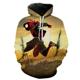 characters print sweatshirt Promo Codes - Spider 3D Digital Print Loose Mens Hoodies Spring Fashion Hero Cartoon Mens Sweatshirts