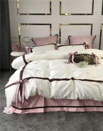 набор розовых оборванных постельных принадлежностей Скидка  Pastoral Egyptian cotton 4/6pcs Egyptian cotton Royal Bedding sets Queen King size Duvet cover Bed sheet set Pillowcase