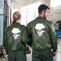 men s military style jackets Coupons - Skull Print MA1 Bomber Jacket Coat Men Pilot Outerwear Army Military Style Women Jackets Aviator Motorcycle Couple Coats Perfect Size S-8XL