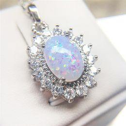 2019 feuer stein kristall ROMAD Opal Halskette für Frauen Feuer Stein CZ Kristall Halskette Weibliche Oval 4 Hochzeit Engagement Charms Schmuck R4 günstig feuer stein kristall