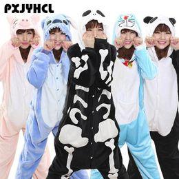 macacões de uma peça Desconto Esqueleto Onesie Pijamas Para Adolescentes Mulheres Doraemon Animal Cosplay Pijama Traje Onepiece Casa Macacão Jumpsuit