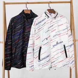 2019 ropa de hombre Paris Designer 19 Nueva marca Desgaste de los hombres de color oblicuo LOGO Impreso Windswear Inner Mesh Hilados Diseño Negro y Blanco M-XXL rebajas ropa de hombre