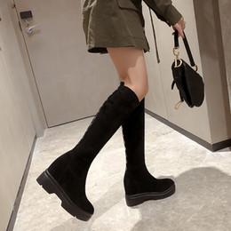 top winterschuhe Rabatt Lapolaka Brand Design Top Qualität Wildleder Kniehohe Stiefel Frauen Wedges Plateauschuhe Herbst Winter Stretch Stiefel Frau