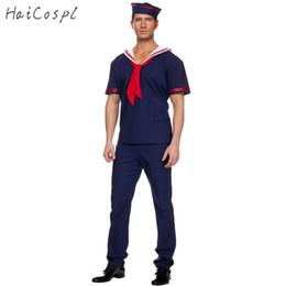 Camisas do uniforme do azul marinho on-line-Plus Size traje Homens Adulto Sailor Trabalhador Azul Cosplay Marinha Uniforme trajes de Halloween T-shirt Terno Festival Carnaval Hat Pant
