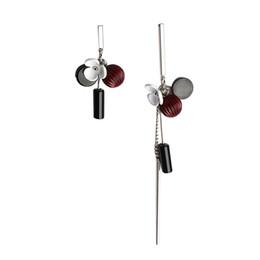 Fiori rossi coreani online-Moda coreana Asimmetria Fiore Petalo Orecchini lunghi Perle di temperamento Boucle d'oreille Femme Pendante (Vino rosso)
