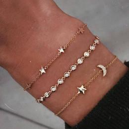 2019 mondcharme armband 3 Stücke Gold Armbänder Set Boho Armreifen Sterne Mond Charme Armbänder für Frauen Einfache Haken Schmuck Einfache Weibliche günstig mondcharme armband