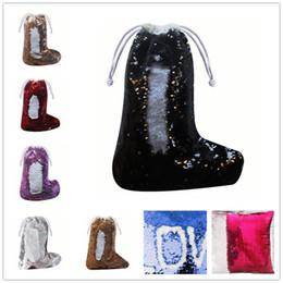 Medias de navidad online-Bolsa de Chrismas de lentejuelas Medias sirena regalo de Chrismas Caramelo Bolsas de lentejuelas de Chrismas Calcetines colgante para niños A02
