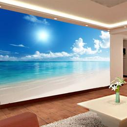 Benutzerdefinierte Mural Wallpaper 3D blauer Himmel und Wolken Strand Wohnzimmer Schlafzimmer Wand Tapete Papel De Parede 3D von Fabrikanten