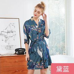 Chemises de nuit soyeuses en Ligne-Silky Sleep Kimono Yukata chemise de nuit des chemises de nuit Pijama Mujer M-XXL