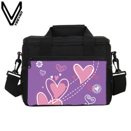 cajas de almuerzo aisladas rosadas Rebajas Pink Heart Print Thermo Lunch Bags Women Nevera Portátil Con Aislamiento Termal Lonchera Picnic Bolsos Contenedor de Almacenamiento