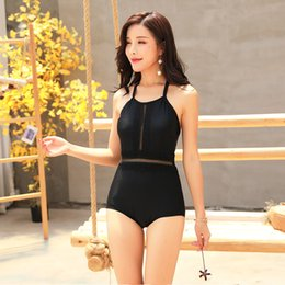 beb4c63467c4f 2019 South Korea's new bikini halter slim slim small chest gathered  swimsuit sexy Siamese hot spring bathing suit women