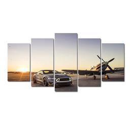 aceite de lona de coche Rebajas 5 piezas Combinaciones HD Sports car plane Aeropuerto Patrón sin marco Lienzo Pintura Decoración de la pared Impreso Pintura al óleo póster