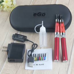 Doble batería ego ce4 e cigarrillo online-Doble eGo-T CE4 Starter Kit E Cigarette Vapor 1100mAh 900 Batería 1.6ml CE4 Clearomizer E Cig Set Cremallera Estuche Vape Pen Kit