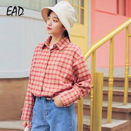 70d36c4cf EAD Do Vintage Xadrez de Algodão de Alta Qualidade Camisa de Manga Longa  Escritório Mulheres Turn Down Collar Blusa Feminina Red Girl Solto Blusa  Tops