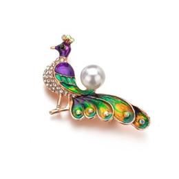 Pérola broche de pavão on-line-Novo boêmio colorido esmalte pavão broches para mulheres imitação de pérolas broche pin bijuterias b231