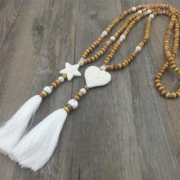 corazón colgante de madera collar Rebajas Accesorios de moda Collar Joyas Maxi Estrella natural Corazón Piedra Cuentas de madera Collares Colgantes para mujeres Borla