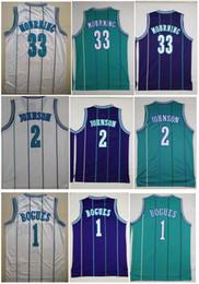 melhores camisas de basquete Desconto Bordado de homens de melhor qualidade Vintage 1 # Tyrone Muggsy Bogues Jersey 2 # Jerseys de Larry Johnson 33 Alonzo luto Jersey Abdur Rahim Mike Bibby