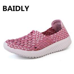 loafers casuais tecem Desconto Novas Mulheres Sapatos Casuais Slip on Woven Shoes Moda Mulheres Apartamentos para Senhora Mocassins Calçado Feminino Tamanho Grande