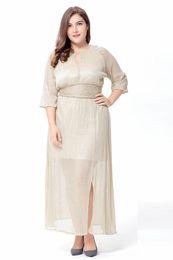 Vestidos de organza maxi on-line-Clobee 2.19 plus size 6xl maxi verão mulheres dress longo organza dia dress vestidos de festa de cetim estilo formal mulheres vestidos