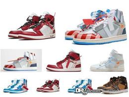 Высокий OG 1s Off совместно подписали UNC мужская баскетбольная обувь Чикаго 1 Poder синий белый красный кроссовки Северная Каролина Мужчины Женщины тренеры от