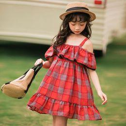 2019 roupas de moda Vestido para crianças 2019 verão xadrez vermelho 12 anos de idade moda adolescente roupas prinsessenjurken meisjes roupas de moda barato