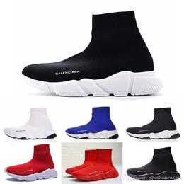 Горячий дизайнер мужчины женщины скорость тренер мода люксовый бренд носок обувь черный белый красный блеск плоские мужские тренеры Бегун кроссовки размер 36-45 от