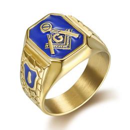 Gold freimaurerei klingelt online-Titan Vintage Ringe für Männer Freimaurer Symbol G Templer Freimaurerei männliche Ringe Gold Silber Hip Hop Designer Ringe Männer
