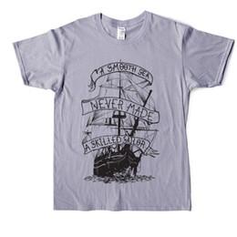 Bootshals-baumwollt-shirt online-Ein glattes Meer nie ein erfahrener Seemann T-Shirt Lustige Männer Baumwoll-T-Shirt O'Neck Short Sleeve Boot Schiff Tee Shirt Bequem Gedruckt Tops gemacht