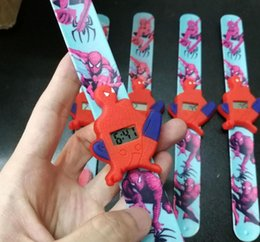relógios de carro led Desconto New Led Kid relógio de carro branco da neve do homem das aranha Ultraman Batman Snap tapa relógio da série de cores da banda bonito Cartoons Candy crianças Led relógio de luz