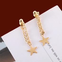 goldkettenohr Rabatt Maxi einfache Modekette und goldene Sternohrringe modische Ohrverzierung