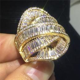 2019 anéis de diamante grande Handmade Big Across Jewelry 925 anel de prata esterlina festa de Diamante anéis de banda de casamento para as mulheres homens Dedo presente anéis de diamante grande barato