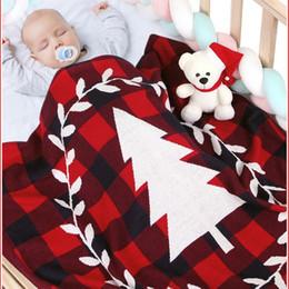 weihnachtsbettwäsche quilts Rabatt Weihnachtsbaum Druck Baumwolle solide gestrickte Neugeborenen Decken Bebes Kinderwagen Bettwäsche Quilts Kleinkind wickeln Wickeldecke