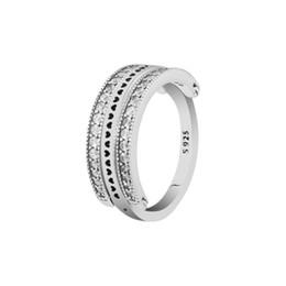 Aniversário prateado on-line-Anel de casamento de luxo 925 Sterling Silver Lançando Corações CZ Anel Para As Mulheres Jóias Originais DIY Fazendo Moda Presente de Aniversário