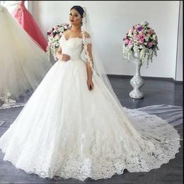vestido de noiva com vestido de bola Desconto Vestido de baile vestidos de casamento Lace Off the Shoulder Trem da varredura apliques Jardim Capela vestidos de noiva Plus Size Árabe Vestidos de novia 2020