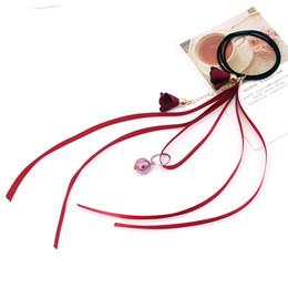 1 pz Donne Eleganti Rosa Gery Nero Blu Rosso Viola Elastico Nastro Fasce per capelli Ragazza Nastro stringa Fiore ciondolo in gomma con cerchietti da