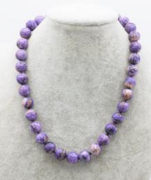 2019 шароитовые бусы gemstone Charoite round purple 8/10/12mm necklace 18inch wholesale  nature FPPJ woman 2018 скидка шароитовые бусы