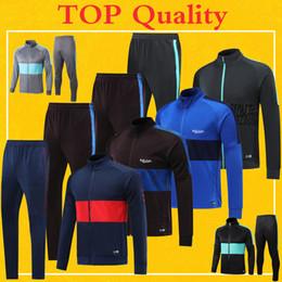 2020 Spagna Barcellona Calcio Giacca Tuta Blu 19 20 Top Quality giacca pantaloni pre-partita Inverno Barcellona allenamento di calcio Kit da