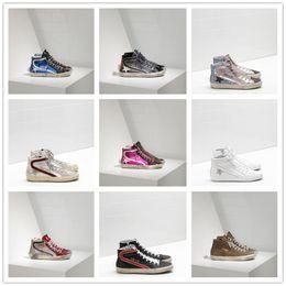 Zapatos ggdb online-2019 Golden Goose Deluxe Brand GGDB diseñador de moda zapatillas de deporte de cuero genuino para mujer para hombre zapatos casuales Gooses Trainer SUPERSTAR SLIDE G-0024