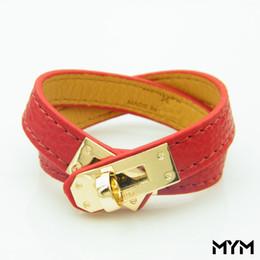 Bracelete de várias camadas on-line-Vintage Multicamadas Pu Couro H Pulseiras para as mulheres Cuff bangles Men ouro fivela Pulseira Pulseras Hombre Acessórios Masculinos Jóias