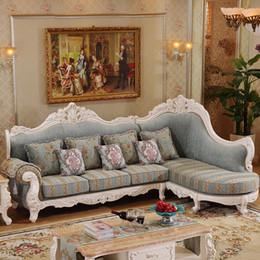 Madeira maciça antiga on-line-Sofá europeu elegante da tela do canto do estilo do projeto antigo, grupo luxuoso do sofá da tela da madeira contínua da sala de visitas