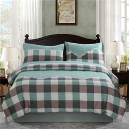Grüne bettdecken online-Grüne karierter Bettdecke gesetzter 1pc Comforters und 2 Stück Kopfkissenbezug