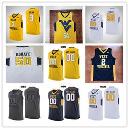 Трикотажные изделия онлайн-Западно-Вирджинские Альпинисты Белый Желтый Custom Ncaa Баскетбол 2 Джевон Картер 50 Сагаба Конате 4 Дакстер Майлз Jr.23 Esa Ahmad WVU Jerseys