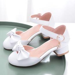 2019 оптовые платья для девочек Весна и осень лето девушки сандалии дети принцесса туфли на высоком каблуке с бантами для малыша сандалии туфли на высоком каблуке