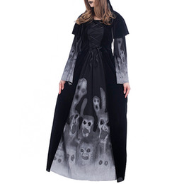clothing new witch Promo Codes - Halloween New Skeleton Printed Witch Long Vampire Dresses Stage Role-playing Dresses Party Dresses for Ladies Halloween Clothing