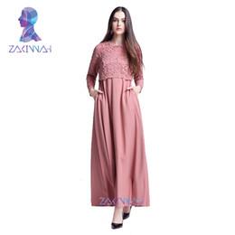 moda islamica in pizzo Sconti Nuovi vestiti islamici del merletto di Abaya Donne Caftan caftano Malesia Abayas turco Abbigliamento donna Moda donna Abito musulmano