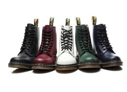 botines de cuña desnudos Rebajas Las mujeres Martin de los botines de cuero genuino botas del tobillo de Martens botas Shoes motocicleta ocasional del invierno zapatos piel de los pares caliente Zapatos Botas Mujer
