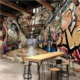Fondos de pantalla de graffiti online-3D foto personalizada papel pintado del estilo europeo retro de graffiti mural restaurante túnel salón cafetería papel tapiz mural